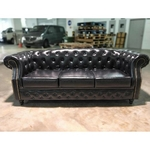 PRE-ORDER BOTTEVA 3 Seater Chesterfield Sofa in Gloss Black PU - Est Delivery in Early May 2021