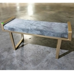 LIMOS Classic Brass Ottoman Bench in Grey Velvet
