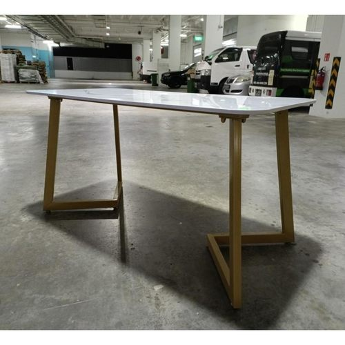 GOLDIVA Marble Top Dining Table with Gold Frame