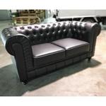 (PRE-ORDER) SALVADO II 2 Seater Chesterfield Sofa in Matt Black PU - Estimated Delivery in End November 2021