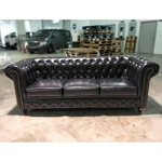 PRE-ORDER SALVADORE X 3 Seater Chesterfield Sofa in Gloss Black PU - Est Delivery in Early May 2021