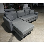 LEVIN L-Shaped Sofa in STONE GREY FABRIC