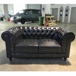 PRE-ORDER SALVADO II 2 Seater Chesterfield Sofa in GLOSS BLACK PU - Estimated Delivery in Mid August 2021