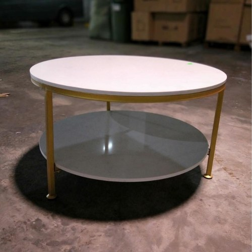 CHRISTINE II Round Marble Coffee Table in MATT GOLD Frame