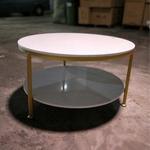 CHRISTINE II Round Marble Coffee Table in MATT GOLD Frame