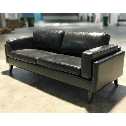 VENZENI 3 Seater Designer Sofa in GLOSS BLACK PU