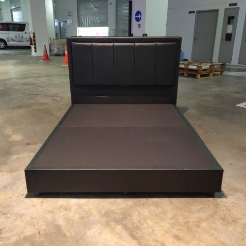 BALTANO Faux Leather Queen Bed frame in BLACK