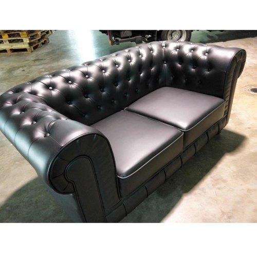SALVADO II 2 Seater Chesterfield Sofa in MATTE BLACK PU Leather