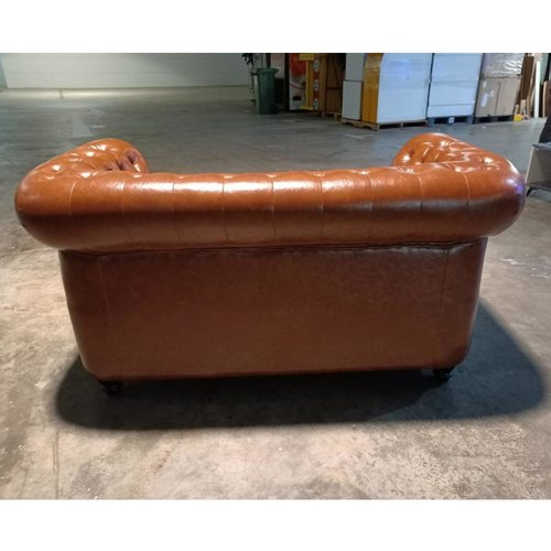 (PRE-ORDER) SALVADO II 2 Seater Chesterfield Sofa in GLOSS BROWN PU - Estimated Delivery in Mid August 2021