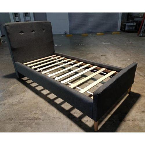 ABIGAIL Single Bedframe in DARK GREY FABRIC