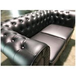 PRE-ORDER SALVADO II 2 Seater Chesterfield Sofa in Matt Black PU - Est Delivery in Early May 2021
