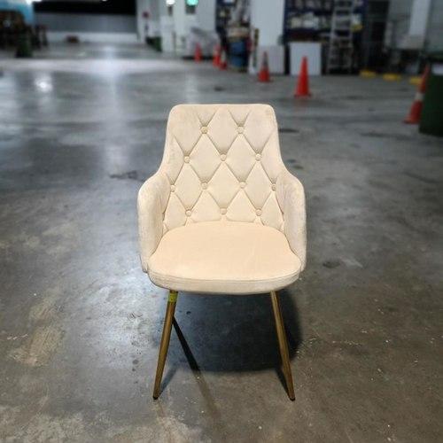 LADA Armchair in CREAM VELVET with Gold Leg Frame