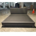 HENSEN Faux Leather King Size Bedframe in Dark Grey