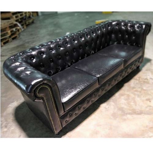 SALVADORE X 3 Seater Chesterfield Sofa in GLOSS BLACK PU
