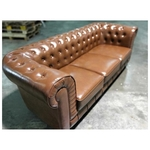 PRE-ORDER SALVADO II 3 Seater Chesterfield Sofa in Gloss Brown PU - Est Delivery in Early May 2021