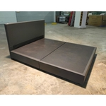 GASTEN II Faux Leather Queen Bedframe in DARK BROWN