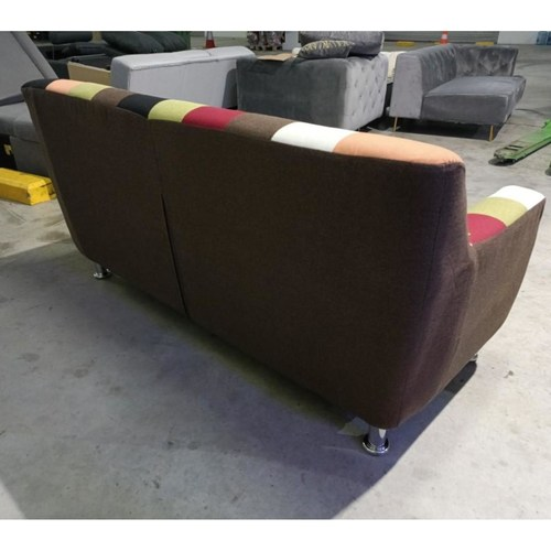 EVORA EURO 2 Seater Sofa in RED MIX Patchwork