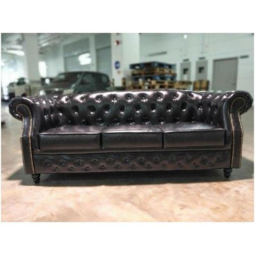 BOTTEVA 3 Seater Chesterfield Sofa in GLOSS BLACK PU