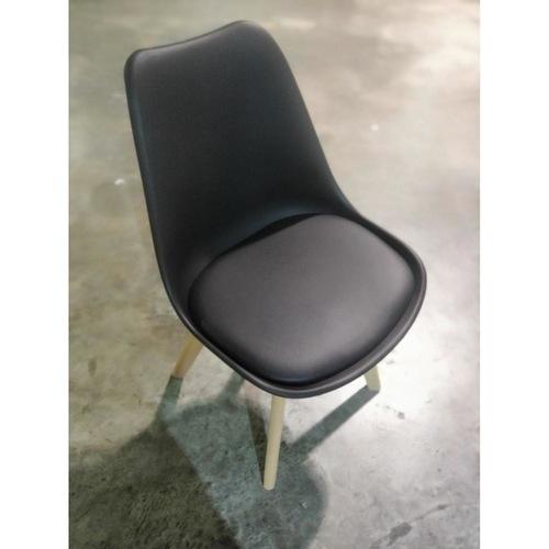 4 x VENZ Designer Chair in BLACK PU with Wooden Frame SET