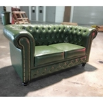 SALVADORE X 2 Seater Chesterfield Sofa in EMERALD GREEN PU
