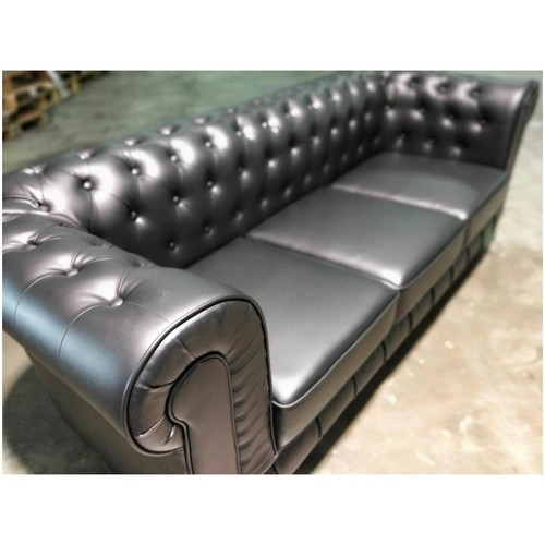 (PRE-ORDER) SALVADO II 3 Seater Chesterfield Sofa in MATTE BLACK PU - Estimated Delivery in Mid August 2021