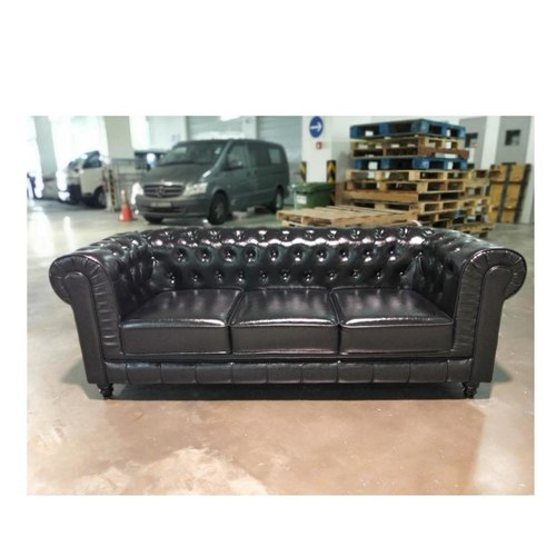 (PRE-ORDER) SALVADO II 3 Seater Chesterfield Sofa in GLOSS BLACK PU Leather - EXP Delivery in APR 2021