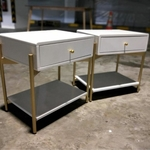 PAIR of VEXEN Pop Art Bedside Table in WHITE with GOLD Frame