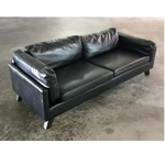 MIWAKE 3 Seater Sofa in BLACK PU