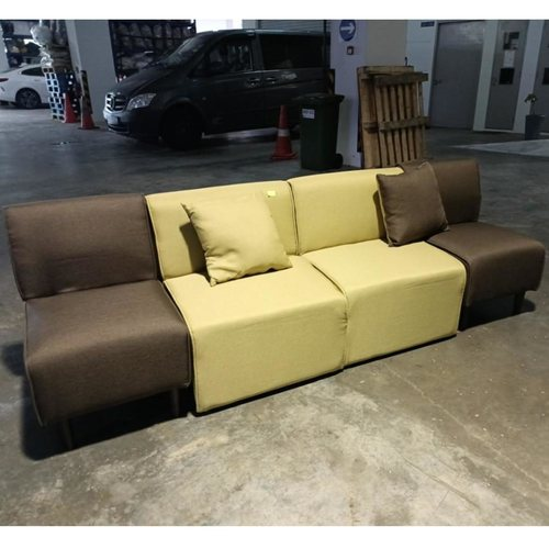 JEKYL 4 Seater Sofa Chair in GREEN & BROWN Fabric