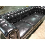 (PRE-ORDER) SALVADORE X 3 Seater Chesterfield Sofa in GLOSS BLACK PU - Estimated Delivery in Mid August 2021