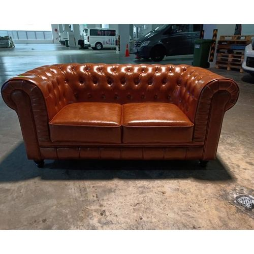 (PRE-ORDER) SALVADO II 2 Seater Chesterfield Sofa in GLOSS BROWN PU - Estimated Delivery in End November 2021