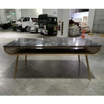 VAIRE Modern Marble Dining Table with Black Marble Top