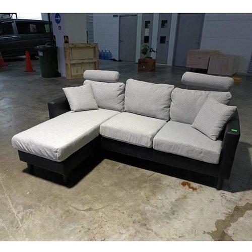 LEVIN L-Shaped Sofa in BLACK PU & GREY Fabric