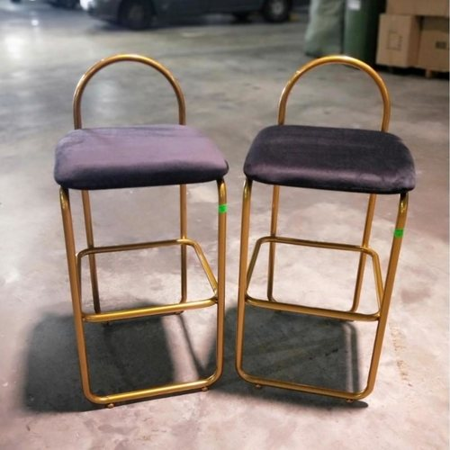 Pair of BRAVA Gold Frame Bar Stools