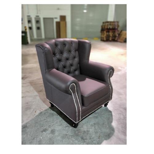 AMANIA Classical Dark Brown PU Arm Chair