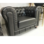 SALVADO II One Seater Chesterfield Sofa in MATTE BLACK PU Leather