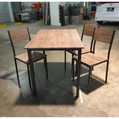 FReDDY Dining Set in DARK WALNUT PRINT - 3 Chairs + 1 Table