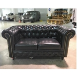 (PRE-ORDER) SALVADORE X 2 Seater Chesterfield Sofa in GLOSS BLACK PU - Estimated Delivery in Mid August 2021