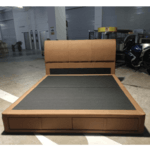 TANDERR King Size Bedframe with Storage Drawers in BROWN FABRIC