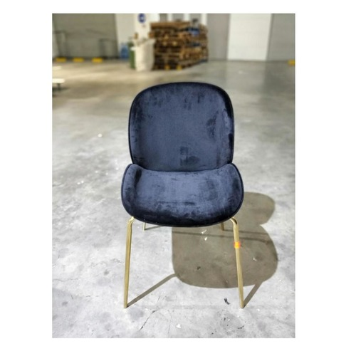 VOLKZ Chair in VELVET Black with GOLD Frame