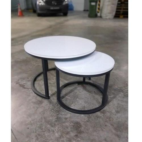 CHRISTINE III Round Tempered Glass Nesting Coffee Table