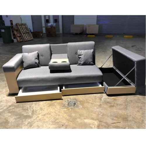 MIKO Storage Sofa Bed in GREY FABRIC