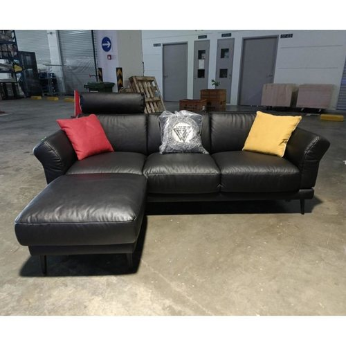 MAKOLA L-Shaped Cowhide Leather Sofa in BLACK