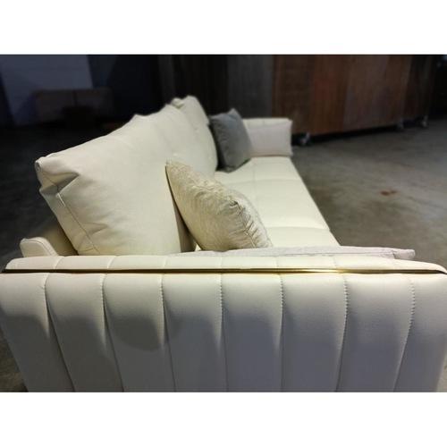MARANELLO 3 Seater Cowhide Leather Sofa in PLATINUM WHITE