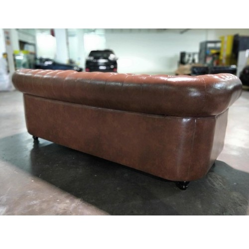 SALVADO II 3 Seater Chesterfield Sofa in GLOSS BROWN PU Leather