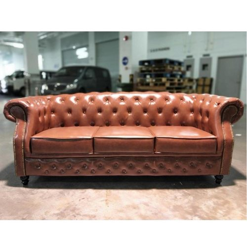 PRE-ORDER BOTTEVA 3 Seater Chesterfield Sofa in Gloss Brown PU -Est Delivery in Early May 2021
