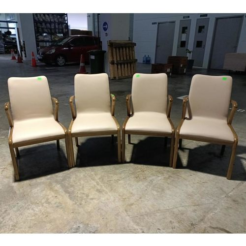 4 x MOGALLY Dining Chairs in Beige PU