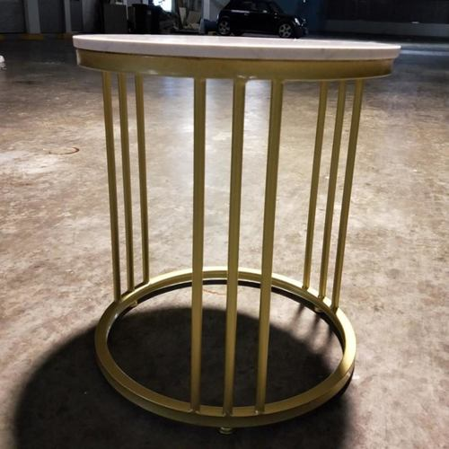 TRACI Contemporary Marble Top Side Table in GOLD FRAME
