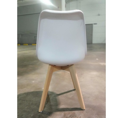 VENZ Designer Chair in WHITE PU with Wooden Frame SET