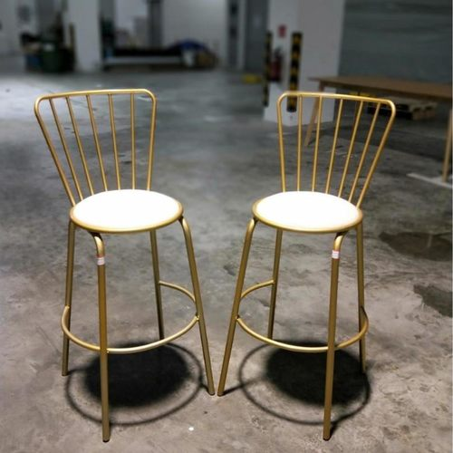 2 x FARRO Contemporary Gold Caged Bar Stool